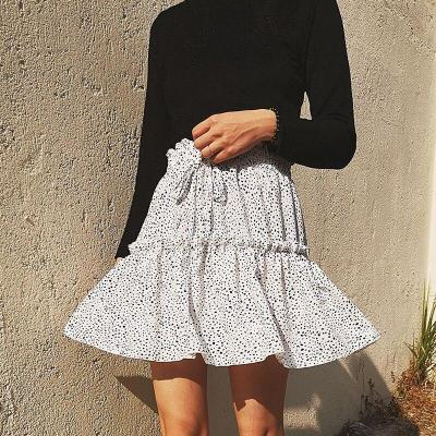 Chiffon ruffle leopard dot skirt women casual mini skirt high waist beach boho chic skirt elegant office skirt 2020