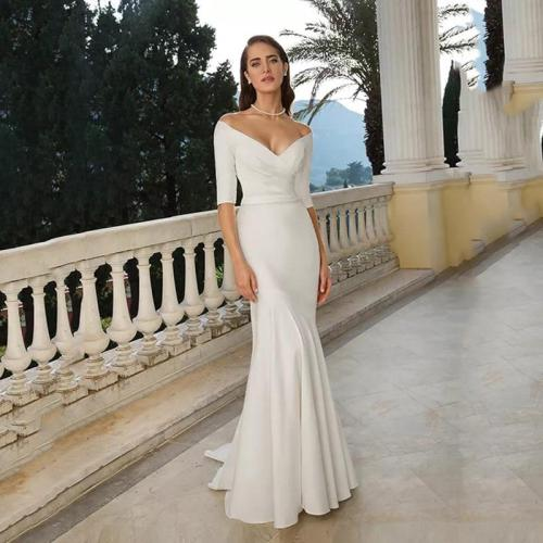 Eightree V Neck Off the Shoulder Mermaid Wedding Dress 2020 Ivory/White Half Sleeves Bride Long Dress Chapel Train  Trumpet Gown