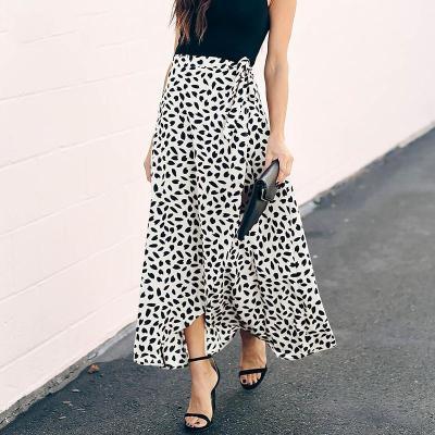 Foridol high waist wrap maxi long skirt plus size women 2020 leaf print boho summer white skirt ladies office casual skirt