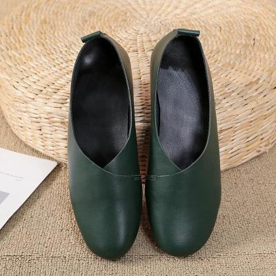 Women's Leather Flats shoes Spring Summer Ladies Shoes Skid-proof Round Toe Flat Casual Fashion Walking Loafers Waterproof