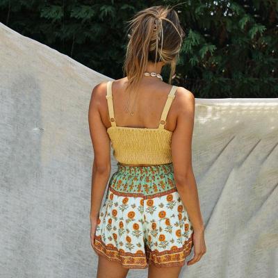 Foridol Summer Boho High Waisted Shorts Wide Leg Beach Boho Shorts Women Orange Print Shorts 2020 Female Green Shorts Bottoms