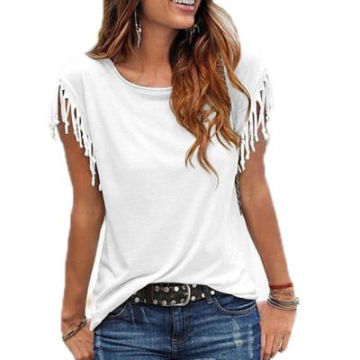 2020 Summer Tassel Casua Blouse Shirt Female Vest Women O-neck Clothes Female Shirt Short Sleeve Female Tees Women Top