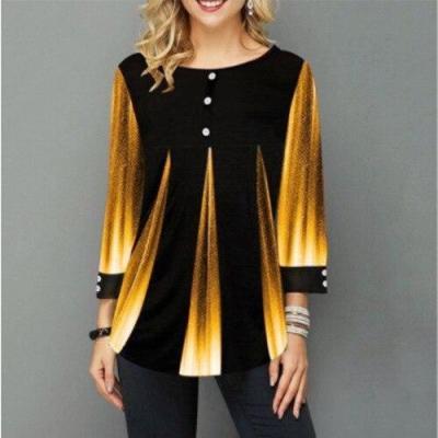 2020 Women New Summer Street hipster Print Blue Tops 3/4 Sleeve Loose Ladies Tee Shirt Plus Size 4xl 5xl Female T-Shirt