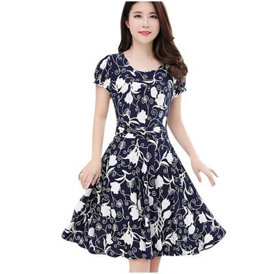 CHAMSGEND Women's Clothing Appliques woman dress Polyester fiber Printing Short Sleeve Jersey regular dresses women female dress