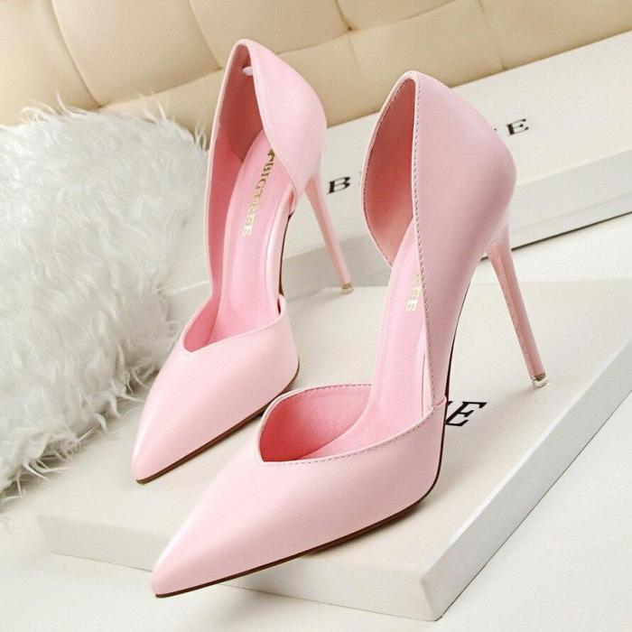 Summer Shoes Women Elegant Pumps Pointed Sexy Club Ultra 10.5cm Thin High Shoes Pink Sweet Stiletto Shoes G0103