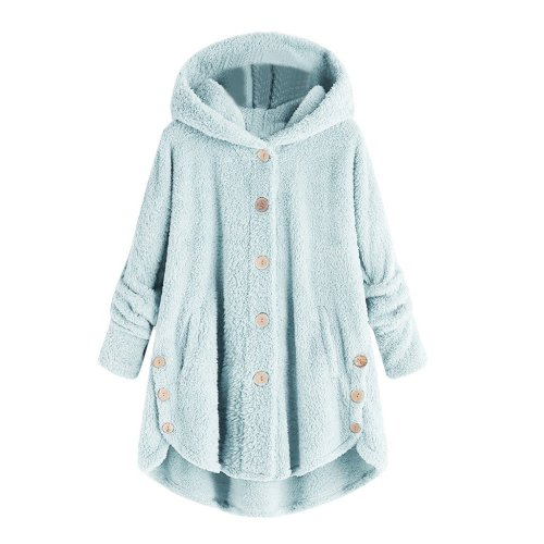 Fluffy Tail Solid Hooded Long Sweatshirt Plus Size Loose Women Button Zip Up Winter Warm Oversized Long Sleeve Tops 5XL#Y3