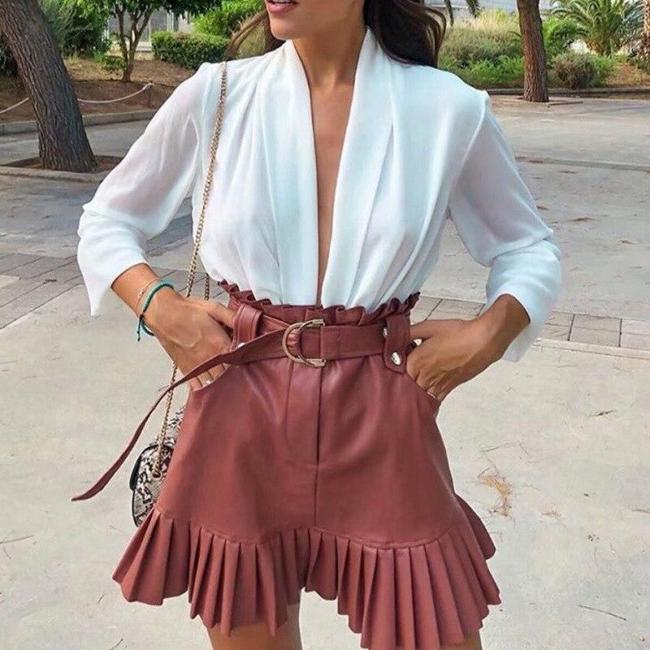 Foridol Ruffle high waist skirt mini short skirts black Sash skirt elegant PU  leather skirts women faux leather skirt pockets