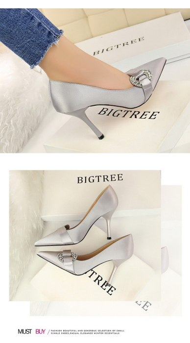 European Style Women's Shoes High Heels Stiletto Silk Shallow Mouth Pointed Sexy Banquet Rhinestone Buckle Women Pumps G0079