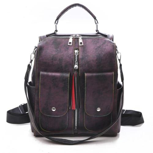 Multifunction Travel Backpack Bags For Women PU Leather Solid Color Female Outdoor Bagpac Multiple Pockets School Bags For Girls