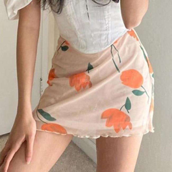 Foridol floral vintage skirt women chic streetwear mini skirt high waist skirt 2020 new cute short tulle skirt