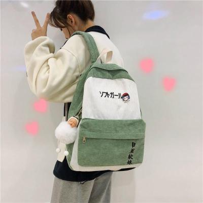Stripe Female Corduroy Backpack Kawaii Women Letter Embroidery School Bag Girl Cute Backpack Harajuku Fashion Ladies Bag Student