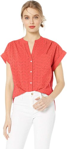 J.Crew Mercantile Women's Short-Sleeve Eyelet Camp Shirt