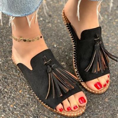 Sexy Leopard Women Slippers Woman Tassel Slides Women's Flats Ladies Sewing Non-slip Slides Female Open Toe Shoes Plus Size