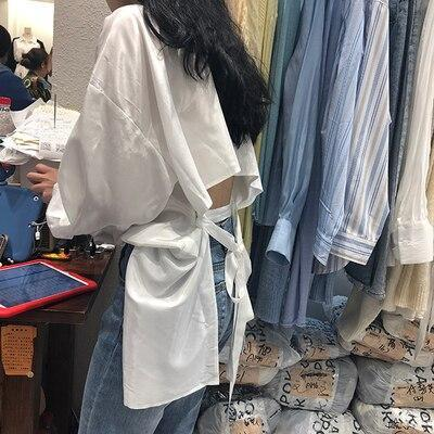New fashion Open Back Sexy Blouse Women 2020 Fashion Summer Korean Tie Back Ladies Shirts And Blouses mori girl Chic Blusas