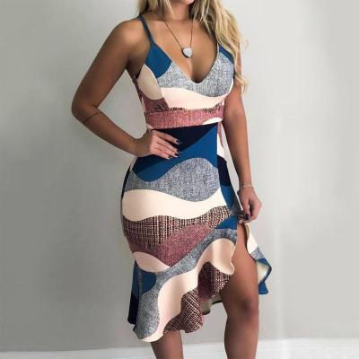Women Dress Patchwork Ruffles Decor Sexy V-Neck Low-cut Sling Print Asymmetrical Dress Elegant Lady Slim Wrap Hips Party Dresses
