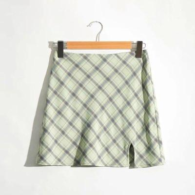 Foridol Vintage Checkboard Cut Mini Skirt High Waist Female Cara Slit Green Skirts Women Streetwear Cotton Retro Skirt Faldas