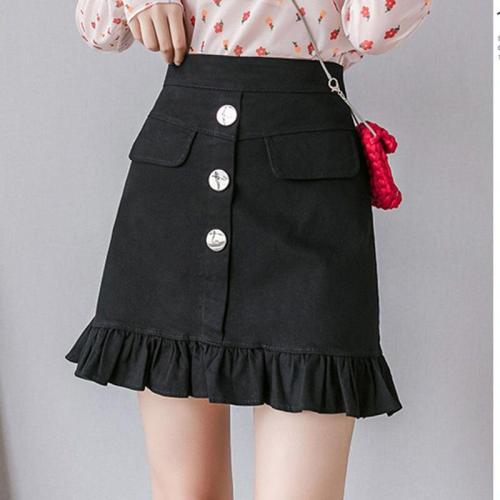 Ruffle Cotton Jeans Skirts Summer Korean Vintage Denim Skirts Women Mini Skirt Sexy High Waist School Skirt Beach Warp Skirts