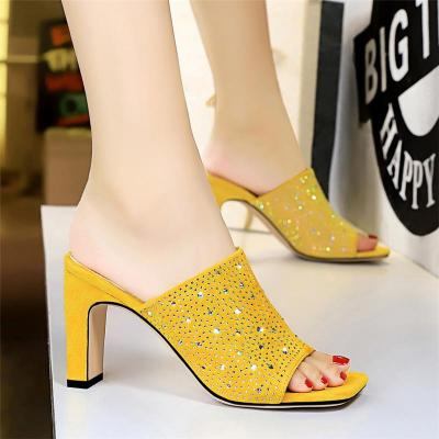 Summe Fashion Slim High Heel Shining Diamond Sandals Women Thick Heels Fish Mouth Square Suede Crystal Slippers Outdoor Sandals
