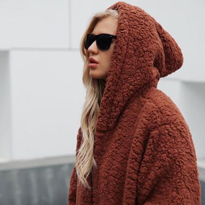 Women Warm Hooded Zipper Sweatshirt Artificial Wool Pullover Winter Parka Outerwear Solid Lamb Cashmere Khaki Pocket Top#Y3