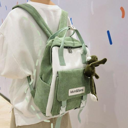 Buckle Cute Corduroy Backpack Women Stripe School Bag Teenage Girl Harajuku Backpack kawaii Female Fashion Bag Ladies Luxury New