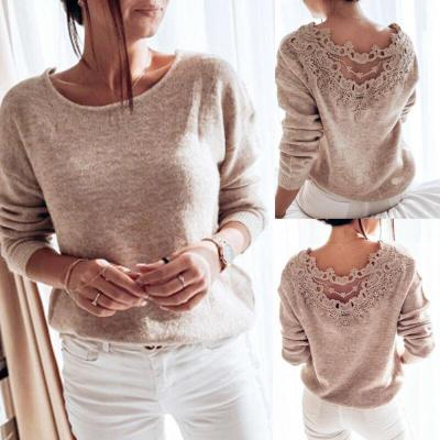 Autumn Womens Clothes Sexy Elegant Lace Stitching Backless Pullover Woman Sweater Long Sleeve Jumper Top Knitted Sweater Bodycon