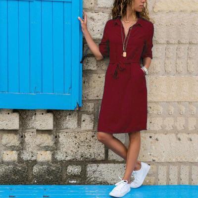 Fashion Turn-down Collar Party Shirt Dress Women Solid Three Quarter Sleeve Spring Summer Dress Plus Size Casual Vestidos Robe