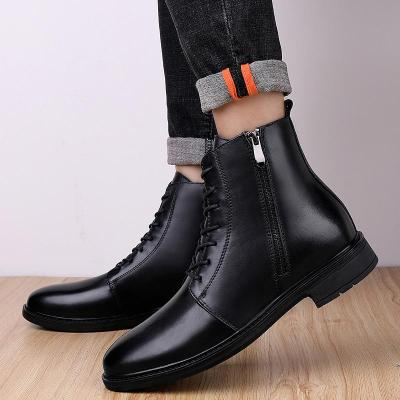 New Men winter boots man martins boots black 100% genuine leather men's warm casaul boots lace-up man ankle boots big size