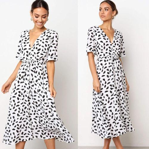 Women Dress Half Short Sleeve Polka Dot Ladies Midi Dress V Neck Summer Sundress Casual Female Dresses Vestido De Festa D30
