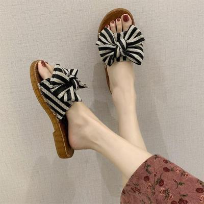 2020 Women Slippers Ladies Bowtie Woman Fashion Knot Slides Low Heels Casual Women's Beach Shoes Female Comfortable Footwear