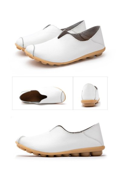Large size 4.5-10.5 Genuine leather shoes for women Non-slip Soft Womens loafers Casual Ladies shoes flat Spring