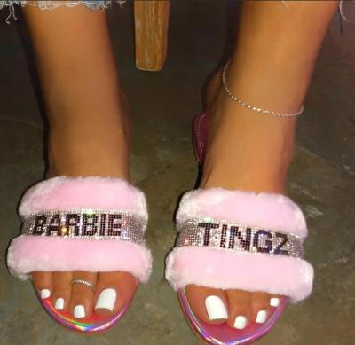 Fashion Fur Plush Wild Hair Home Slippers Women Diamond Warm Sandals Female Flip Flop Flat with Interior Slippers Outdoor Shoes