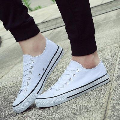 Fashionable Youth Mens Shoes Casual Unisex White Sneakers Breathable Walking Canvas Shoes Men Women Red Lace Up Flats