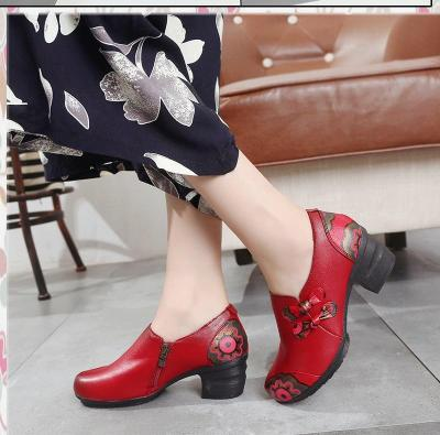 Shoes woman Butterfly-knot Flats shoes Real leather Print female shoe Increase Wedges shoes Rubber Non Slip buty damskie