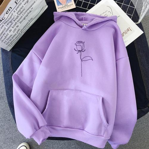 2020 Fashion Harajuku Winter Hoodie Women Loose Korean Style Sweatshirt Autumn Streetwear Flower Printing Hoodies Pullovers