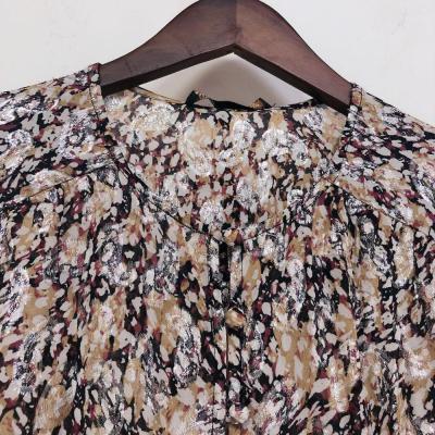 Lantern Sleeve Dress Women Printed O-neck Elastic Waist 2020 New Ladies Vintage Mini Dress