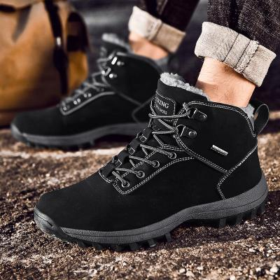 Waterproof boots Fur Warm Men's Casual Boots Cotton Shoes Leather Winter Flannel Boots Men's Army Boots Anti-skid Men's Shoes