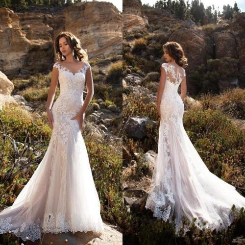 Eightree Mermaid/Trumpet Train Illusion Bridal Gown Dress Sleeveless Double Shoulder Appliqued Lace Wedding Dresses 2020 White