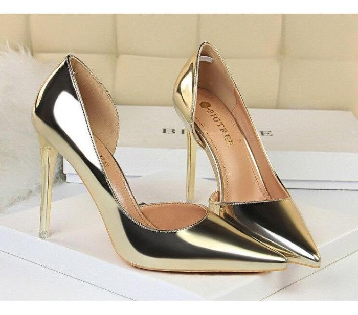 2019 New High Heels Shoes Women Pumps Stiletto Ladies Fashion Pumps Patent Leather Bridal Gift Wedding Shoe G0005