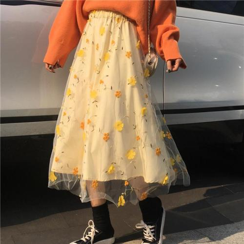 3D Flower Embroidery Lace Mesh Skrit Women High Elastic Waist Long Midi Skrit Yellow Elegant Tulle Skirt Sweet Cute Student W743