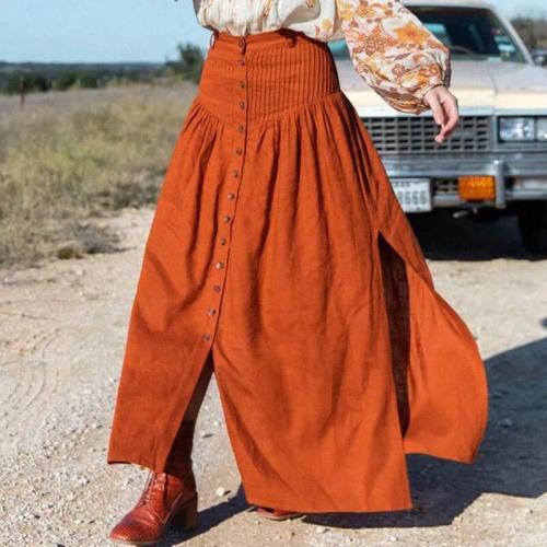 Foridol high waist slit long skirt women 2020 autumn button maxi split orange skirt bottoms casual black cotton skirt faldas