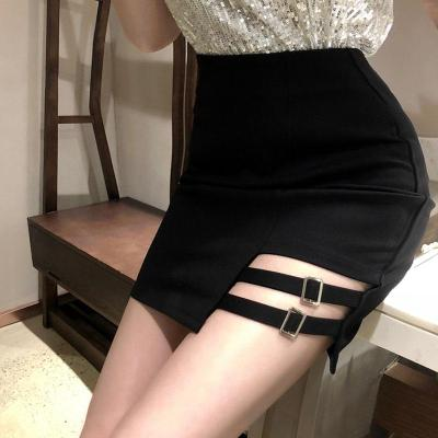 Black Pencil Skirts Bodycorn Warp Skirts Skinny Clubwear Gothic Skirts Women Sexy Irregular Leg Ring Dance Micro Mini Skirt 2019