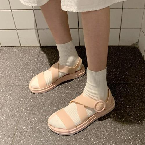 Summer Women Sandals Hook & Loop Girl Rome Soft Jelly Sandals Open Toe Platform Comfort Female Casual Flat Beach Shoes