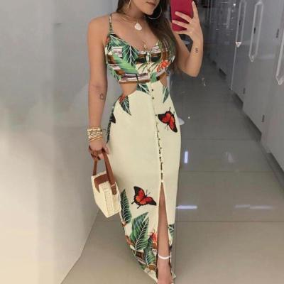 Floral Printed Lady Summer Dress Butterfly Spaghetti Strap Cami Women Dress Fashion Button Sleeveless Contrast Female Dress D30