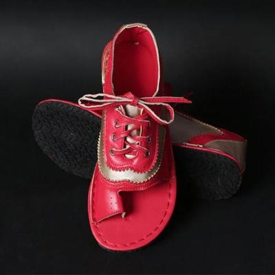 Women's Flat Sandals Lace Up Sewing Clip Toe Female Thong Shoes Pu Leather Ladies Sandalias Fashion Plus Size New Fashion