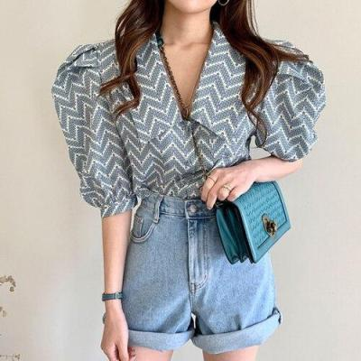 Korean Summer Retro Geometric Pattern Lapel All-match Loose Half Puff Sleeve Shirts Blouses Women Tops Fashion Streetwear 2020