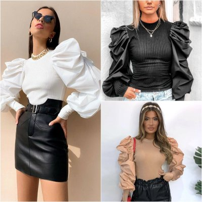 Autumn/Winter European New Sexy Bubble Sleeve Stitching Cotton Bottomed Knitted T-shirts Tops Women New Fashion Streetwear 2020