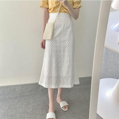 Embroidery Summer Long Maxi Skirts Plus Size Hook Flower High Waist Chic Korean Skirts Sexy Long Skirts White Women Harajuku