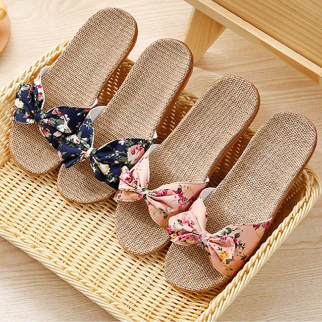 New Women Bowtie Slippers Cane Slides Fashion Candy Color Indoor Non-slip Lightweight Shoes Solid Summer Comfort Beach Footwear