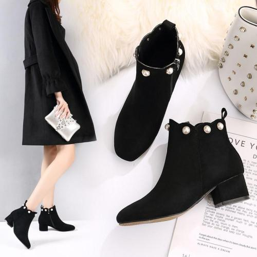 2020 Winter Shoes Snow Women Ankle Boots Bead Black Faux Suede Pearl Boots Wave botas mujer Zipper Chunky Heels botines 7745