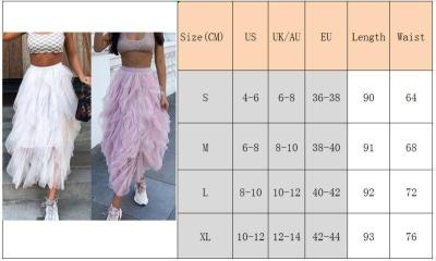 Fashion Women Girls Lace Solid Color Long Skirt Tulle Boho Evening Party Beach Holiday Skirts